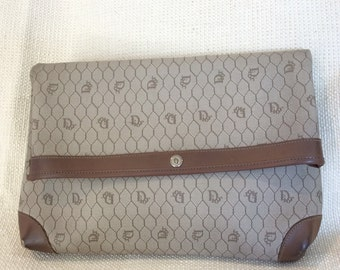 Genuine CHRISTIAN DIOR vintage long large brown signature clutch organizer