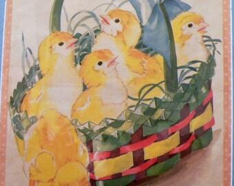 1943 Easter Chicks & Basket Matted Vintage Print
