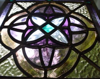 Stained Glass Floral Design in Lavender and Amber