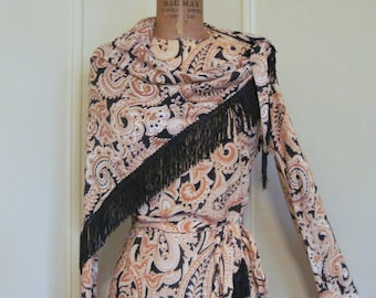 vintage 1960s Golden Brown Paisley Dress with Black Fringed Shawl