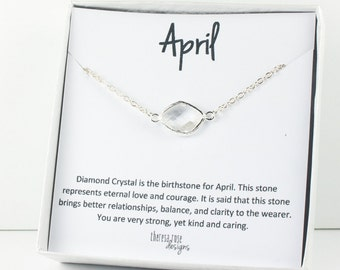 April Birthstone Silver Necklace, Crystal Silver Necklace, April Birthstone Jewelry, April Birthday Gift, Crystal Necklace