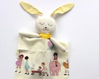 Easter stuffed bunny, fabric bunny doll, plush bunny rabbit with blanket, fabric bunny, yellow baby girl stuffed animal, girl birthday toy