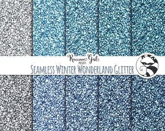 Seamless Winter Wonderland Glitter Digital Paper Set - Personal & Commercial Use