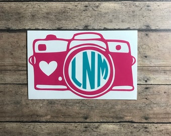 camera monogram / decal / camera / photography / photographer / pictures / photograph / memories / monogram