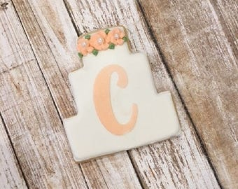 Personalized Wedding Favors, Bridal Shower Favors, Wedding Cake Cookies - 1 dozen