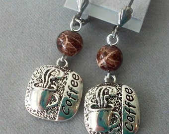 Coffee Charm Earrings with Brown and Tan Beads