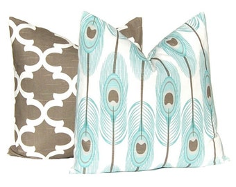 Decorative Pillow Covers - Brown and Aqua - Feathers and Moroccan Tile - One of Each - Brown Pillow Cover - Aqua Pillow Covers - Brown Decor