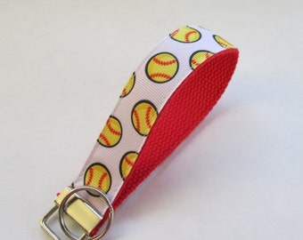 Softball Lanyard Keychain, Cool Lanyards, Softball Keychain Lanyard, Cute Wristlet Lanyard, Cute Key Fobs