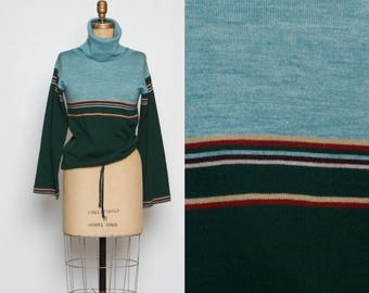 vintage 70s teal green pullover turtleneck sweater striped large collar
