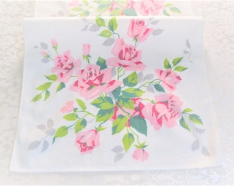 Wilendur Tea Towel Pink Royal Rose Vintage Kitchen Linens Dish Cloth Hand Towels Shabby Chic Cottage Style Vintage Linens