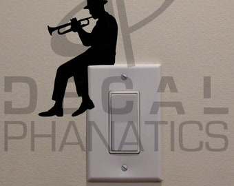 """Man Playing Trumpet On Light Switch (4.75""""x3"""") - Bedroom/Home Decor Decal"""