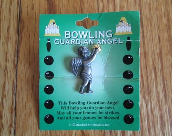 Vintage Guardian Angel Bowling pin on original card