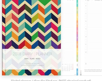 2018 planner digital planner goodnotes template 500+ pages, white dated diary, full navigation links, iPad planner, chevron, Line daily
