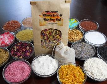 Create a Custom Herbal Bath Tea, Choose from Botanical Flowers, Herbs, Salts, Milk Powders, Bath Beads..etc