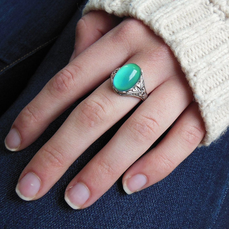Mood Ring Antique Silver Plated Finish Adjustable Cocktail
