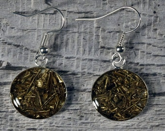 Drop Earring  -  Sparkly Earring  -  Copper Swarf and Silver Plate  -  Sterling Silver