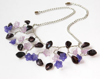 Purple flower necklace Nature jewelry Bib necklace Lavender wedding Beaded Floral jewelry Bead floral Summer necklace gift Trending jewelry