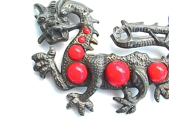 Dragon Jewelry, LITTLE  NEMO, Signed Designer jewelry, Dragon Brooch, Serpent Animal Red Jewelry Unique
