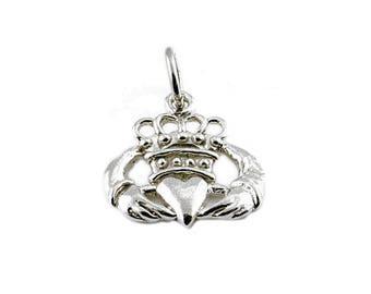Sterling Silver Irish Claddagh Charm For Bracelets