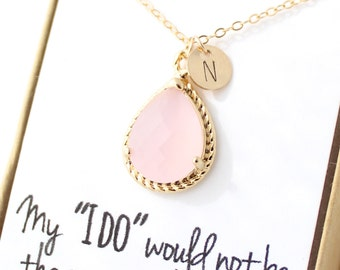 Ice Pink / Gold Rope Rim Necklace - Blush Pink Necklace - Personalized Bridesmaid Necklace - Bridesmaid Gift - Pink Opal Jewelry NR1