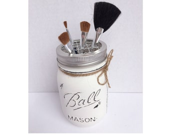Painted Mason Jars. Gift Ideas. Rustic Home Decor. Makeup Brush Holder. Painted Jars. Rustic.