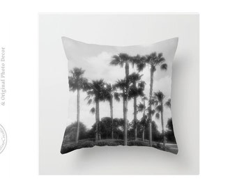 Vintage Look Black and White Palm Trees Infrared Night Photo Pillow Palm Trees Tropical Throw Pillow Cover