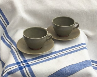 Pair Leach Standard Ware Cups & Saucers Vintage 1950's Pottery