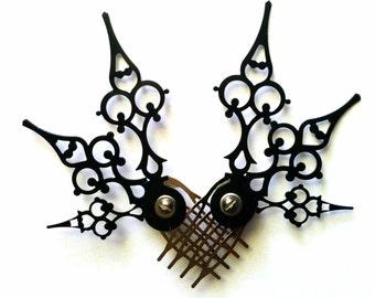 Mariposa Hair Comb Set Steampunk Accessory-Choose: Black, Gold, Mixed Colors
