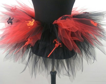 Jester Skull Black and Red Multi Layered Tutu - Available in  Teenage, Adult + Plus Sizes