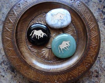 BULL Gemstone Animal Spirit Totem for Spiritual Jewelry or Crafts
