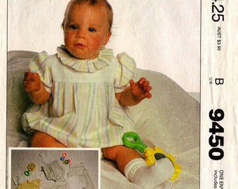 Unused INFANT BABY PATTERN Jumpsuit Romper Sunsuit T-Shirt McCall's 9450 Size Small Medium Large 1985 Vintage Sewing