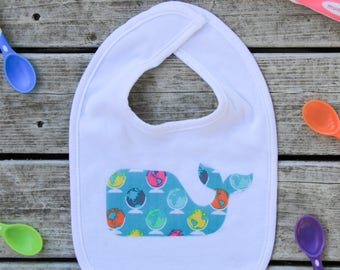 Whale Baby Bib -  Tropical Baby Shower Gift - More Fabric Options Available!