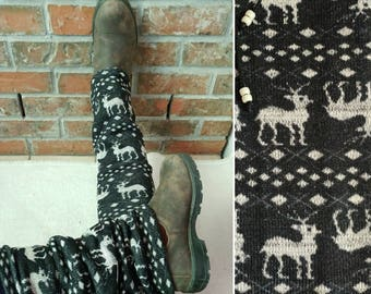 Leg warmers! Charcoal colour with reindeers- The Green Bus, Vancouver Island, Canada.