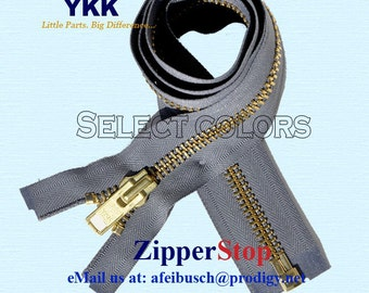 Wholesale Extra Heavy Duty Zipper for Jackets & Chaps # 10 BRASS - Separating - Extra Heavy - Chaps By each ( Select Color and Length)