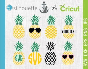 Pineapple SVG Files, Circle Monogram svg, Tropical Summer, Pineapple monogram, Pineapple sunglasses svg,  cut files for Cricut,  Silhouette