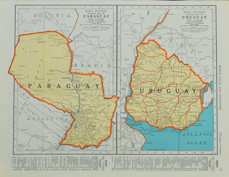 Mapa de 1942 Paraguay/Uruguay Vintage mediados siglo mapa