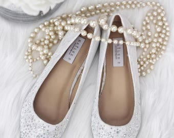 Women Wedding Lace Shoes, Bridesmaid Shoes - WHITE LACE Pointy Toe ballet flats with scattered rhinestones - Bridal shoes