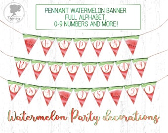 Watermelon Birthday Banner, Watermelon Birthday Party Decorations, Printable, Watermelon Party, Watermelon birthday, Birthday Banner, DES3
