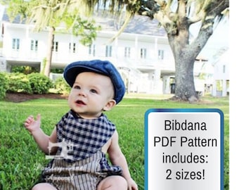 PDF DOWNLOAD- Bibdana- PDF sewing pattern-bandana bib- baby bib- toddler bib- digital download