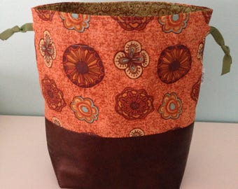Project bag small Orange print leatherette