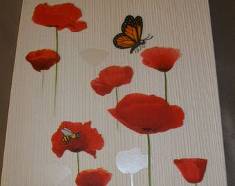 "Large block letter decoration ""poppies"", refillable paper."