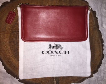 """VINTAGE COACH RED Slim Cosmetic Pouch 7"""" X 4"""" W/Hang Tag"""