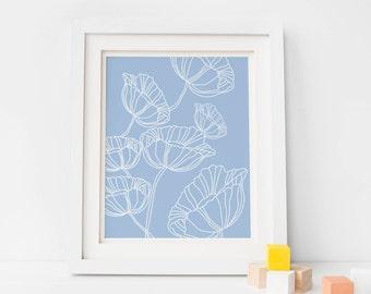Blue Poppy Digital Download Wall Art Print