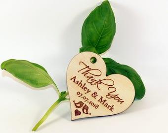 Wedding favor tags, Wood favor tags, Wedding favors, Wood wedding favor tags, Wedding rustic tags, Custom tags, Heart tags, Wedding name tag