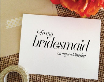 Set of 6 To my bridesmaid on my wedding day card to my bridesmaid card Thank you Cards To bridesmaids Card thank you set