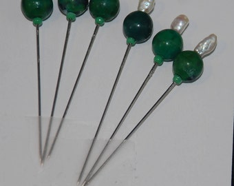 Veil Dress bobbin lace Sewing Pins Chrysocolla dark green SCA Medieval Renaissance 17th 18th 19th century