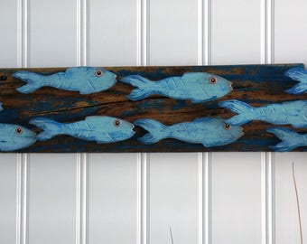 school of fish, wall art, hand made painted wood fish on weathered wood, beach fish art, tropical fish art, hand carved fish