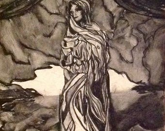 vintage, signed, original Mark Flake 1995 Stella Maris (Madonna as protector of the sea) charcoal drawing. Expressionism