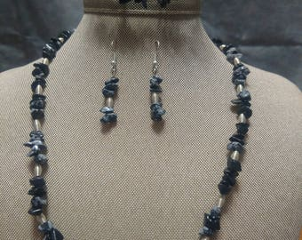 Snowflake Obsidian and Silver Three Piece Set