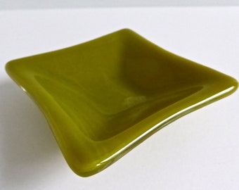 Fused Glass Ring Dish in Streaky Green by BPRDesigns